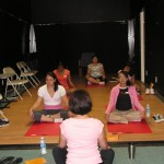 Some of the Circle de Luz girls give yoga a try.