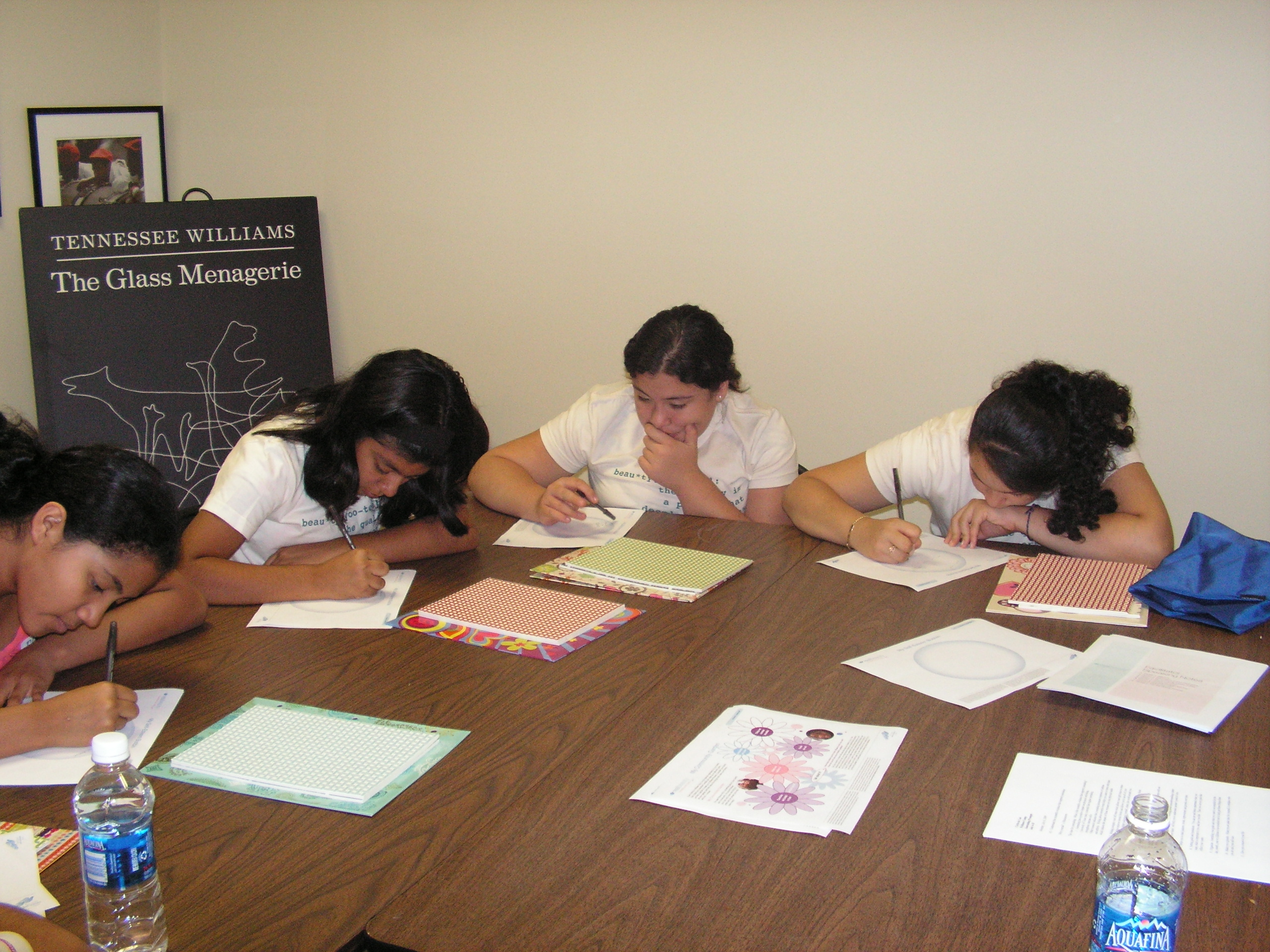 The girls work on some of the exercises during the body image workshop.