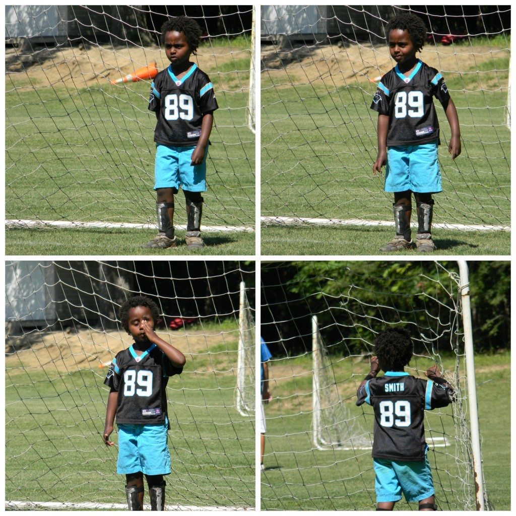 The progression of playing goalie at soccer camp scrimmage:  Photo 1: I've got you. Don't even try it.  Photo 2: Hey, it kinda looks like they are coming towards me. That's fun.  Photo 3: How long is this game?  Photo 4: Game? What game? There is a butterfly over there.