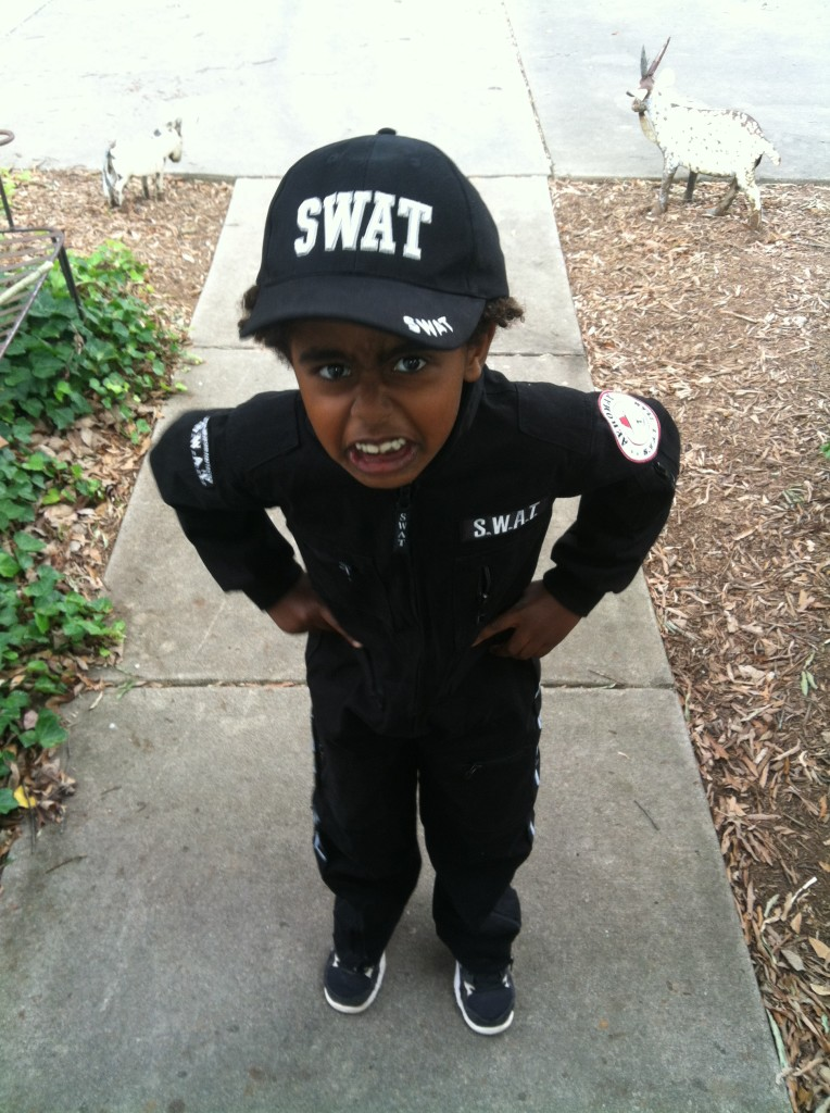 a super serious SWAT team police officer